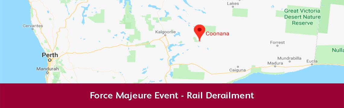 Force Majeure Event - Rail Derailment - 20th August 2018